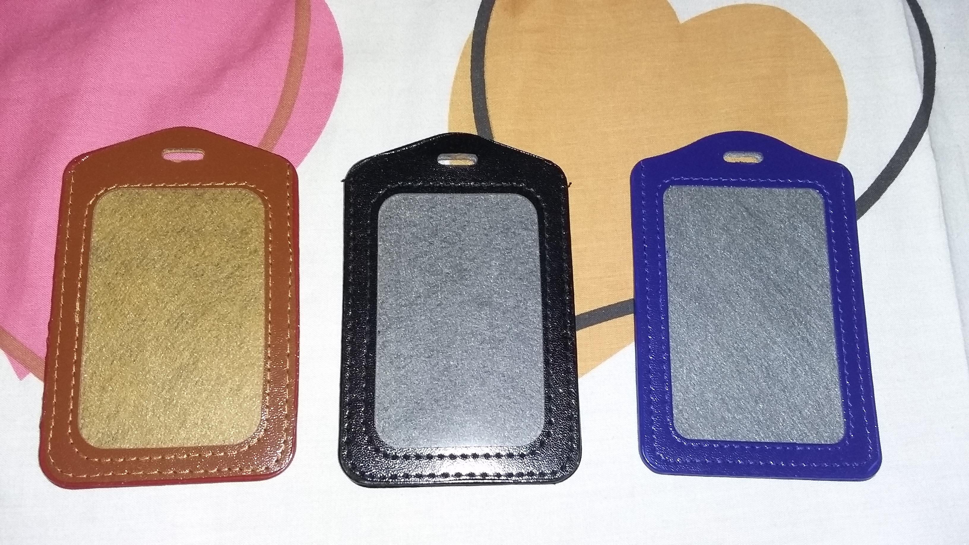 jual card holder kulit sintetis tempat id card kulit